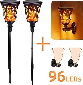 Albrillo - 2 antorchas de jardín – Lámpara solar de jardín con efecto de llama realista, 1200 mAh,