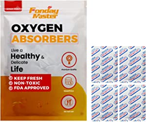 Fonday Food Grade Oxygen Absorbers Packets for Long Term Food Storage & Home Made Jerky, Keep Food Fresh, Anti Oxygen Absorbing Packets for Oats Flour and Freeze Dried Foods (300CC x 20Pack)