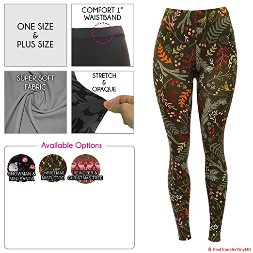 70342219dc1a0a Women's Premium Butter Soft Holiday Patterned Leggings (One Size, Christmas  Mistletoe)