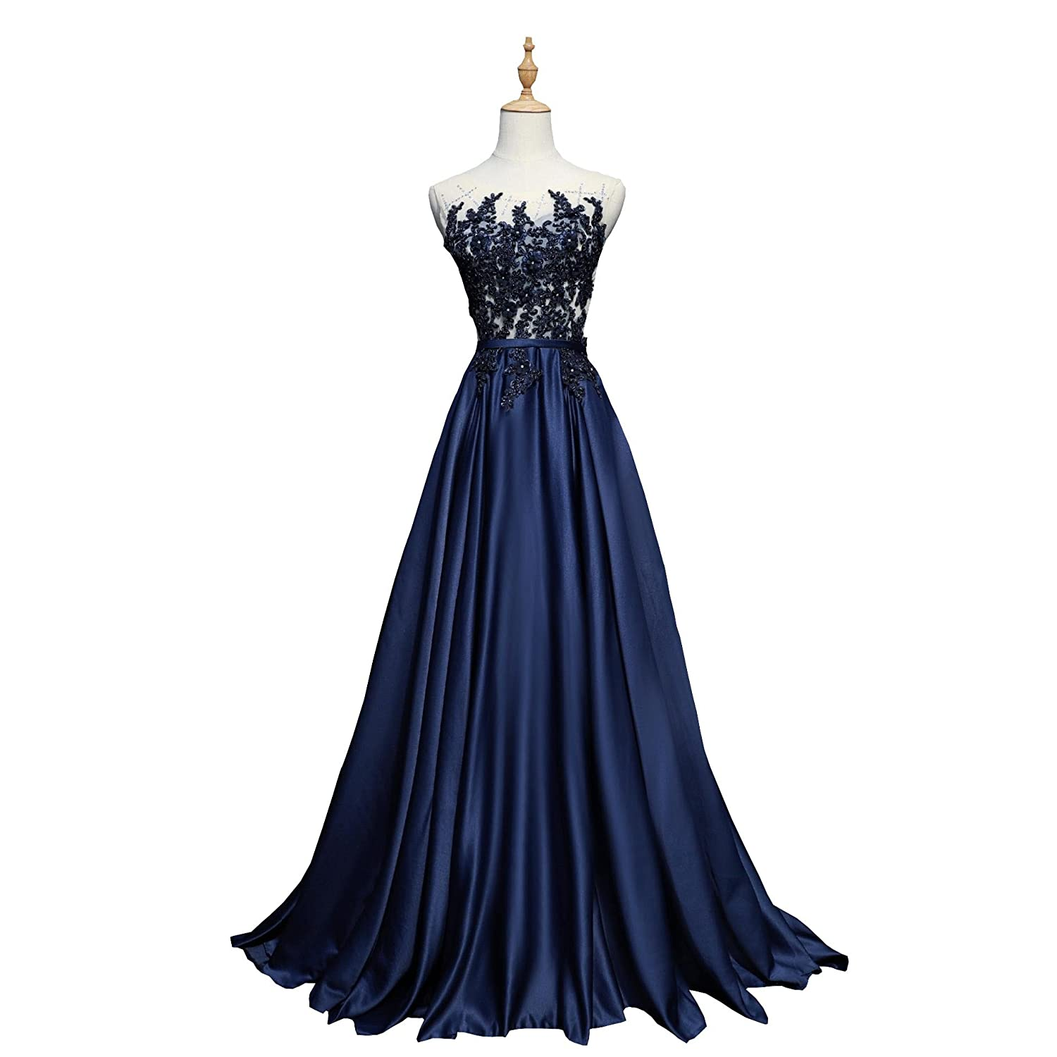 Bride Wedding Dress Navy Blue Silk Pearl Embroidery Perspective
