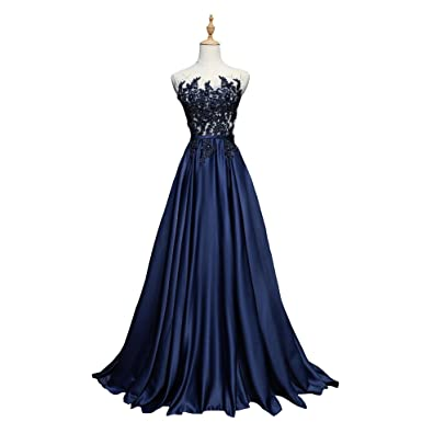 Bride Wedding Dress Navy Blue Silk Pearl Embroidery Perspective ...