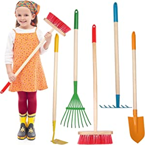 Giggle Goods 5-Piece Kids Garden Tool Set - Multicolored Kids Gardening Tools with Wooden Handle and Metal Head - Kids Size Rake, Spade, Hoe, Leaf Rake, and Broom for Kids Ages 7 Years Old and Up