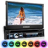 XOMAX XM-DTSB930 autoradio con 18 cm (7 pulgadas) LCD pantalla táctil + Bluetooth dispositivo manos libres y función de reproducción + código libre DVD / CD reproductor + Ranura de extensión por SD – tarjetas y USB conexión + Audio y Vídeo entretenimiento: MP3 WMA MPEG4 AVI DivX + RGB Multi colores de iluminación ajustable: azul, rojo y mucho más + conexión por retrovisor y por subwoofer + Single / solo DIN (DIN 1) medida estándar para el montaje + incluido mando a distancia