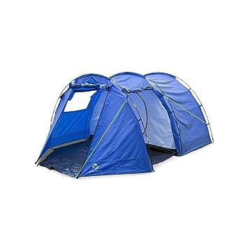 Yukatana Jomida Tienda campaña túnel para 4 personas 260x150x410 cm (camping, poliéster impermeable 3000mm, tubos fibra vidrio, dormitorio mosquitero, ...