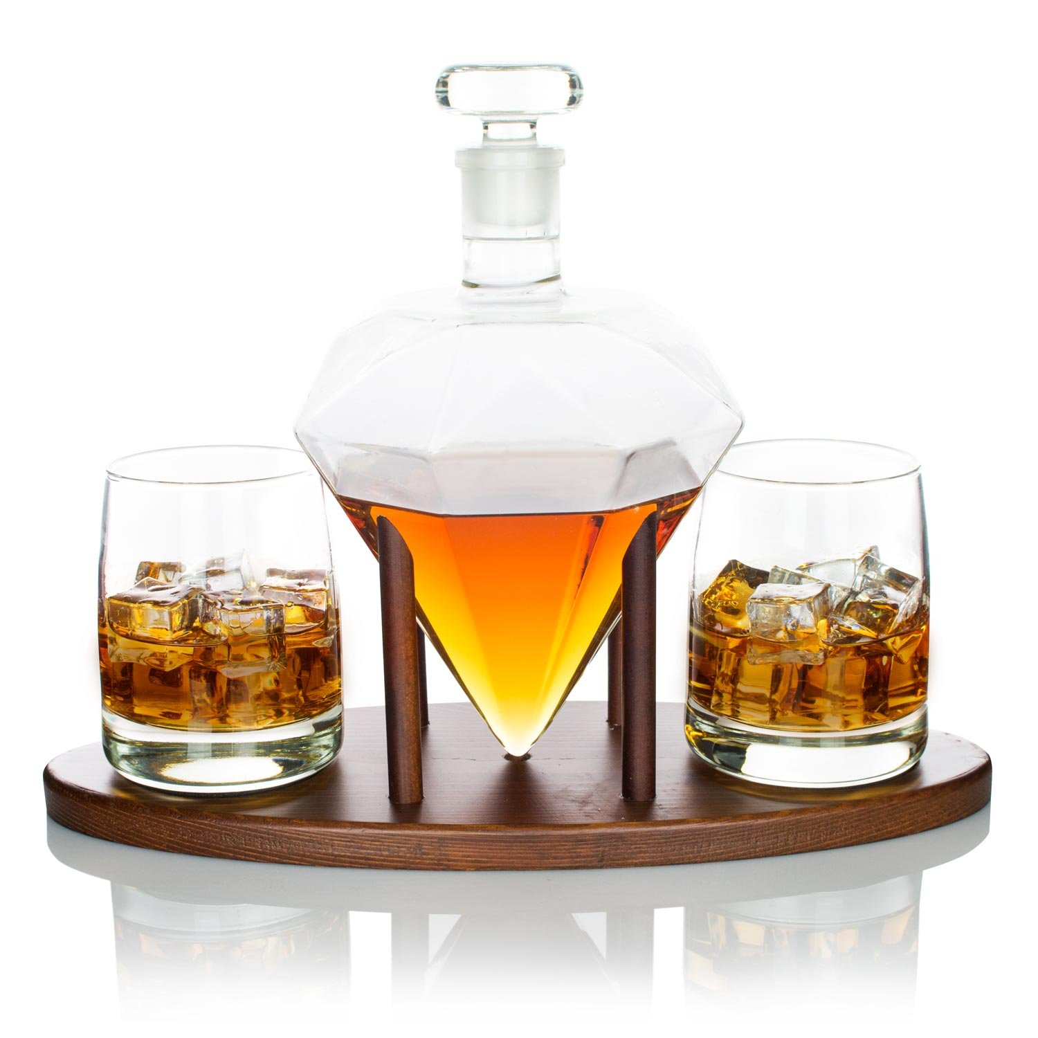 Atterstone Diamond Decanter Set/Full Set with Custom Mahogany Decanter Stand, 2 Diamond Whiskey Glasses, Whiskey Stones and Stainless Steel Funnel