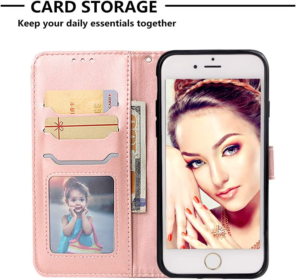 Lomogo Leather Wallet Case for iPhone 8 Shockproof Flip Case Cover for Apple iPhone7 LOYBO470031 Blue iPhone8 iPhone 7 with Stand Feature Card Holder Magnetic Closure