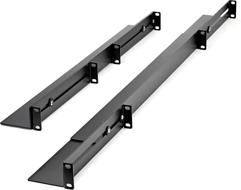 EIA//ECA-310 Compliant 1U Server Rack Rails with Adjustable Mounting Depth 4 Post Supports up to 200lbs UNIRAILS1UB