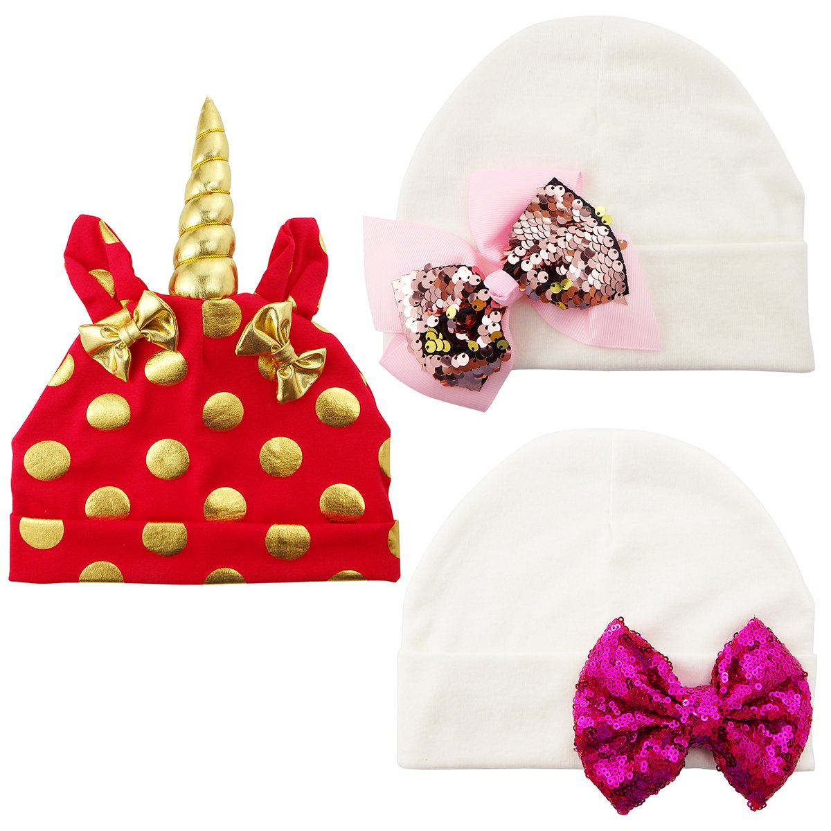 3PCS Cotton Red Unicorn Gifts Preemie Newborn Hospital Hat Bow Nursery Beanie