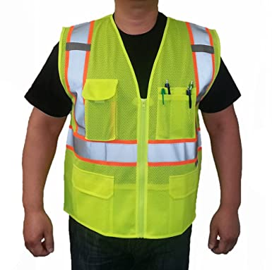 3C Products Class 2 Reflective Safety Vest Small Neon Green With Orange