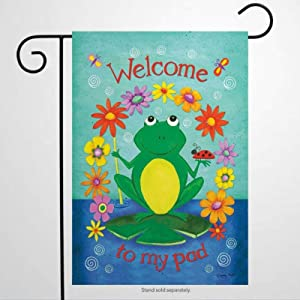 BYRON HOYLE 806625_Welcome to My Pad Summer Garden Flag Decorative Holiday Seasonal Outdoor Weather Resistant Double Sided Print Farmhouse Flag Yard Patio Lawn Garden Decoration 12 x 18 Inch