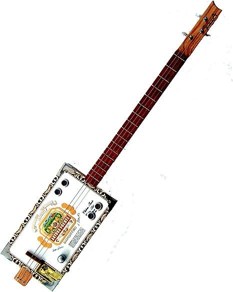 Strumma Artist Cigar Box - Guitarra eléctrica (cromo, 3 cuerdas ...