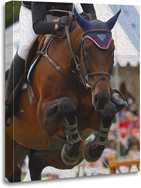 Sports Stallion Riding on a Horse Canvas Art Poster Print Home Wall Decor