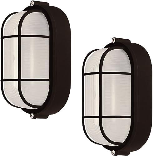 2 Pack Weatherproof Bulkhead Oval Flushmount Exterior Light for Wet Locations, Black