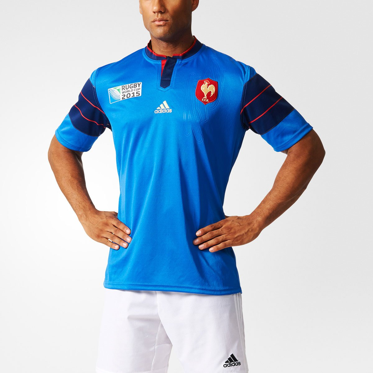 Adidas FFR RWC H JSY - Camiseta para Hombre, Color Azul/Azul Marino/Rojo, Talla S A95802