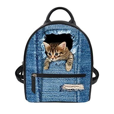 Cute Cat Breaks Denim Design Womens Mini Backpacks Travel Purse Leather  Satchel Daypacks 0dbd084e0c2b0