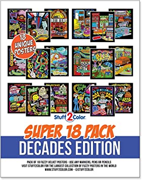 Super Pack of 18 Fuzzy Velvet Coloring Posters (Decades Edition: 50\'s,  60\'s, 70\'s)