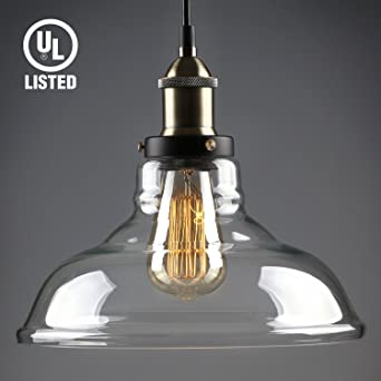 Industrial Vintage 1 Light Pendant Glass Hanging Edison Style Clear Transparent Lampshade