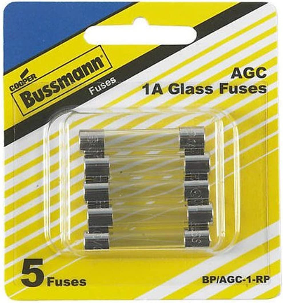 Bussman BP//AGC-1-RP 1 Amp 1//4 X 1-1//4 Fast-Acting Glass Tube Fuses 5 Count