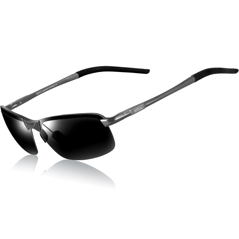 c755d95d24 ATTCL Mens Driving Polarized Sunglasses Al-Mg Metal Frame Ultra Light