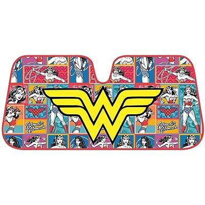 "Wonder Women Auto Sun Shade Universal Size Fit 58"" x 27"" - Windshield Car Truck SUV Sunshade - Interior Accessories - (Retro Cartoon): Automotive"