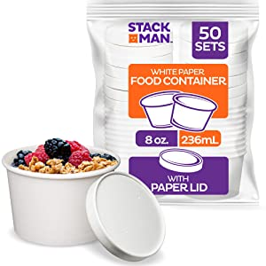 [8 oz. - 50 Sets] Paper Food Container with Lid, Insulated Paper Food Cup with Paper Vented Lid, Hot or Cold to Go Containers, Soup Container, Ice Cream Cup, Yogurt Cup, Eco-Friendly White Container