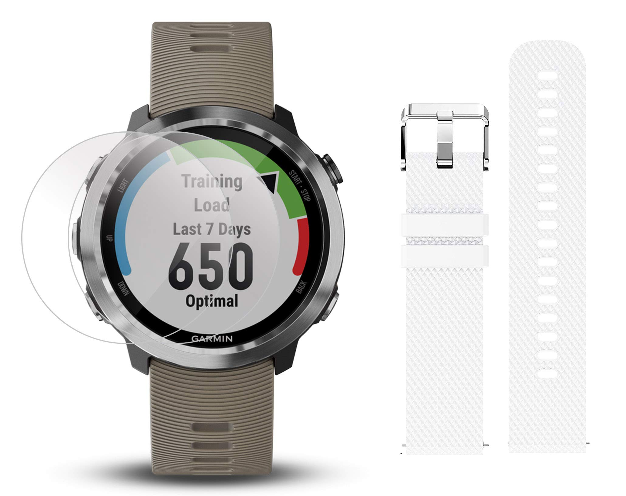 Garmin Forerunner 645 Bundle with Extra Band & HD Screen Protector Film (x4) | Running GPS Watch, Wrist HR, LiveTrack, Garmin Pay (Sandstone, White) by PlayBetter (Image #1)