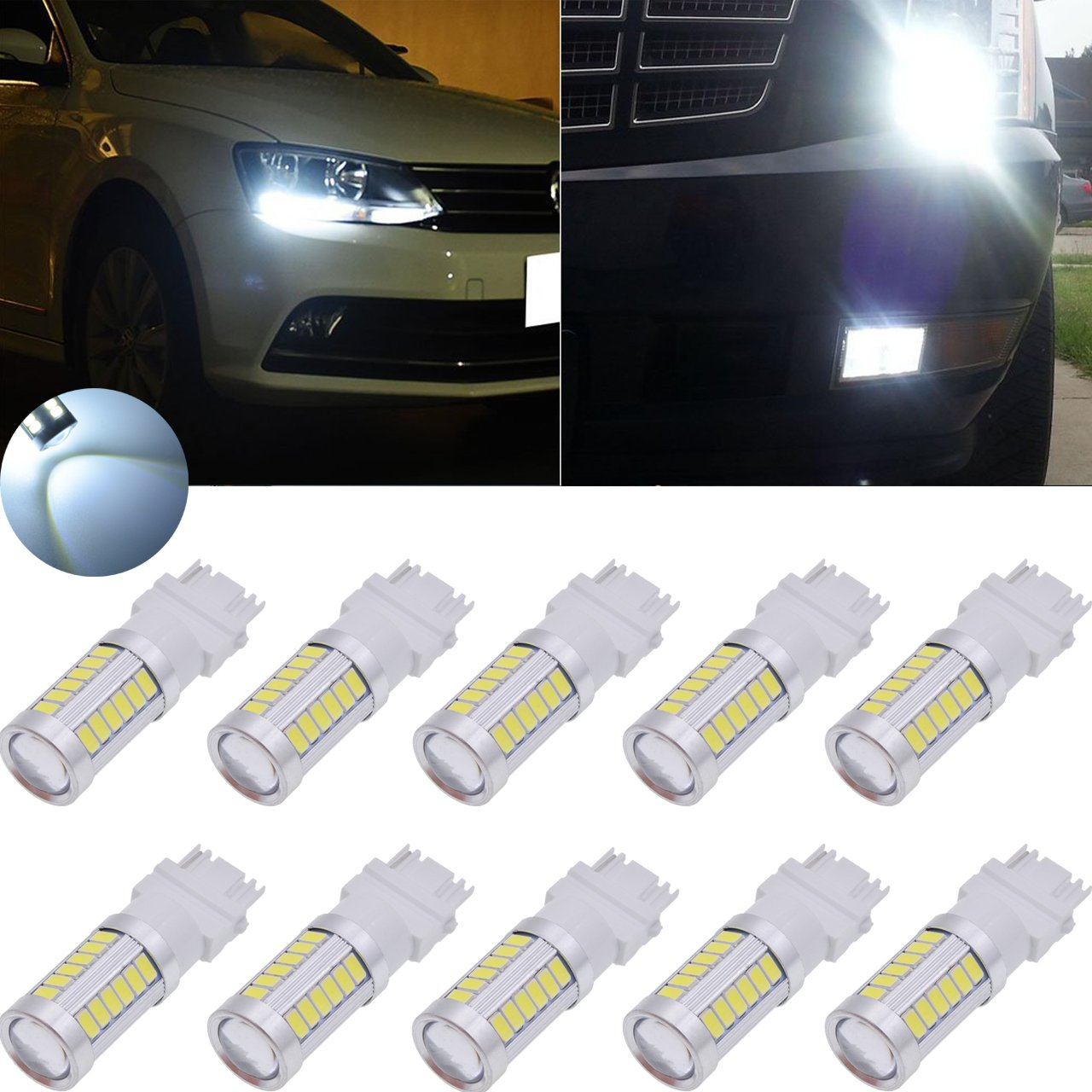TUINCYN 3157 3155 3156 3157A 3457A LED Brake Light Bulb White 5630 33SMD 8000K 900 Lumens Super Bright Turn Signal Light Tail Back Up Reverse Light Parking Light DC 12V (Pack of 2)
