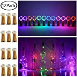 12 Pack 20 LED Wine Bottle Cork Lights, Fairy Mini String Lights Copper Wire, Battery Operated Starry Lights for DIY…