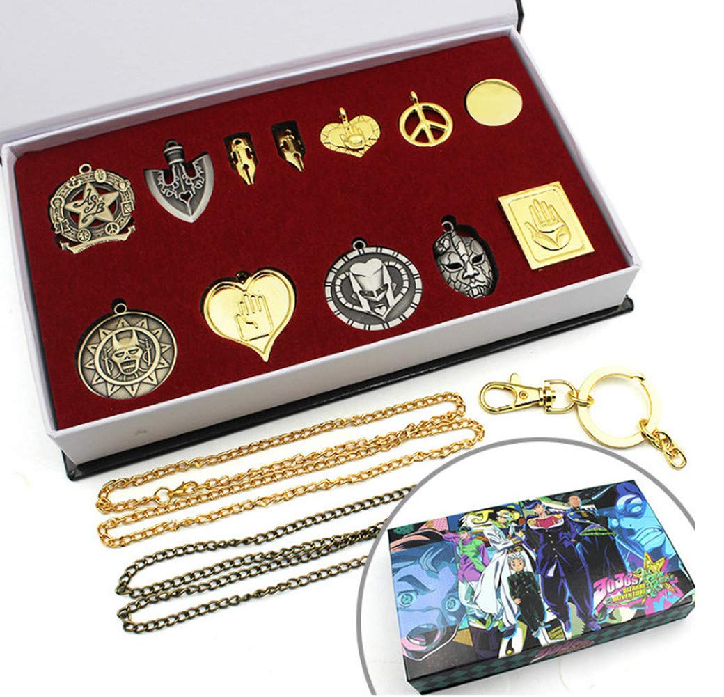 Adventure Anime Pendant Necklace Keychain Sets Cosplay Accessories (B)