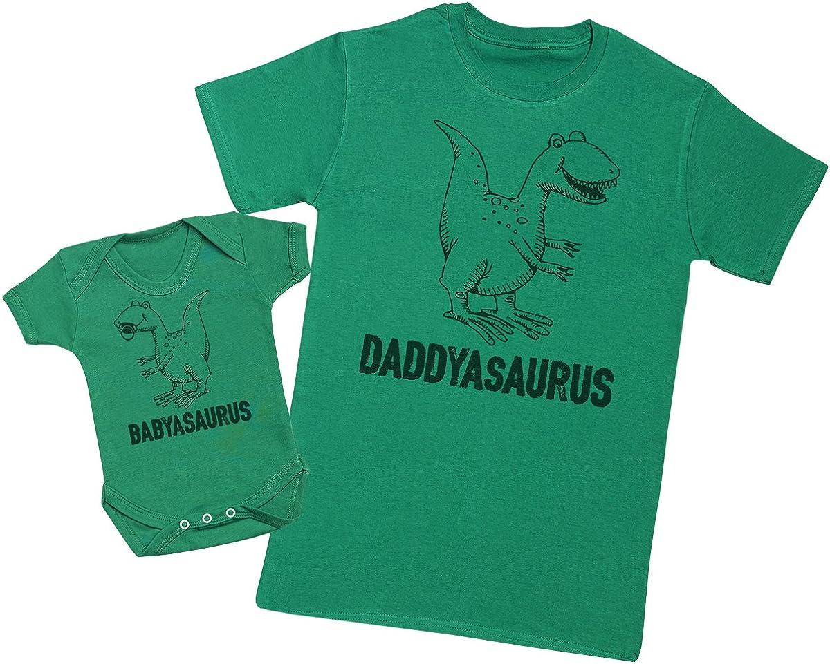 Zarlivia Clothing Daddysaurus /& Babysaurus Mens T Shirt /& Baby Bodysuit Matching Father Baby Gift Set