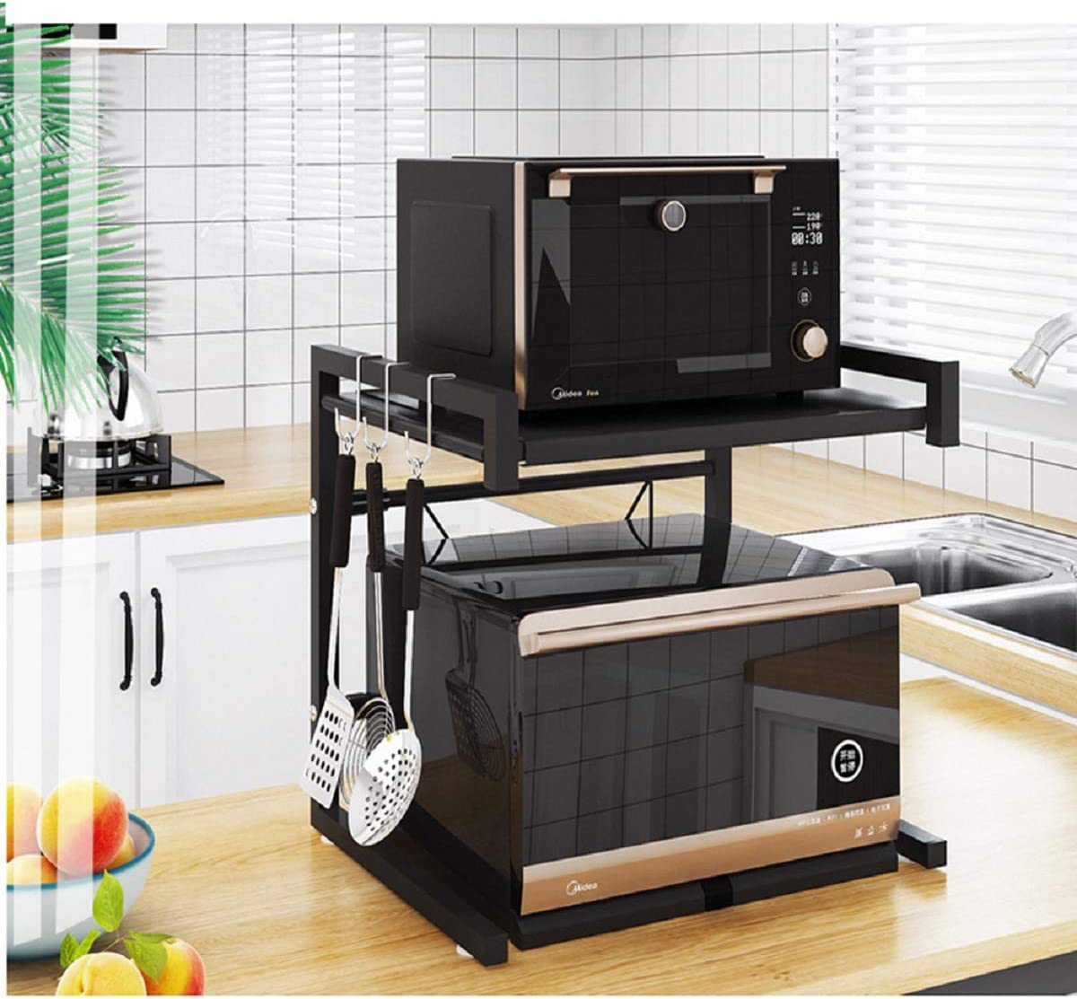Amazon Com Metal Microwave Oven Rack Toaster Stand Shelf Expandable Kitchen Supplies Tableware Storage Counter Space Saver Cabinet Organizer Spice Holder With 3 Hooks 60lbs Weight Capacity Black Stainless Steel Kitchen Dining