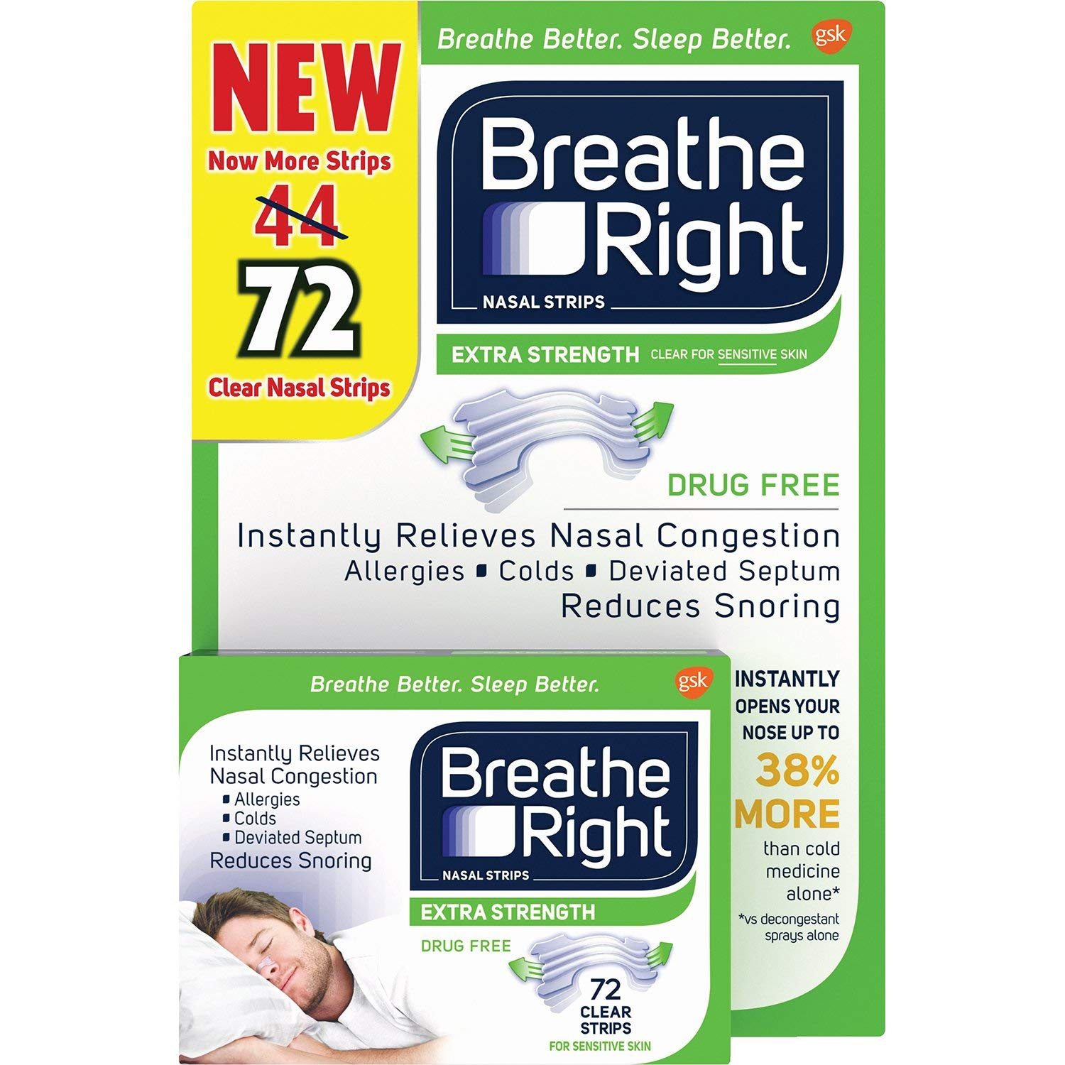 Breathe Right Nasal Strips, Extra Clear for Sensitive Skin, 72 Clear Strips by BREATHE