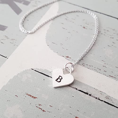 "3c9bfb9a1 Image Unavailable. Image not available for. Color: Personalized Sterling  Silver Heart Letter""B"" Initial Necklace"