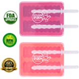 Ultimate Silicone Popsicle Molds: Premium Set Of 2 Ice Pop Makers w/ Lids/ Sturdy, Functional Design For Easy Ice Removal / Make Perfect Ice Pops w/ Water, Fresh Juice, Soft Drinks/ Great Party Gadget