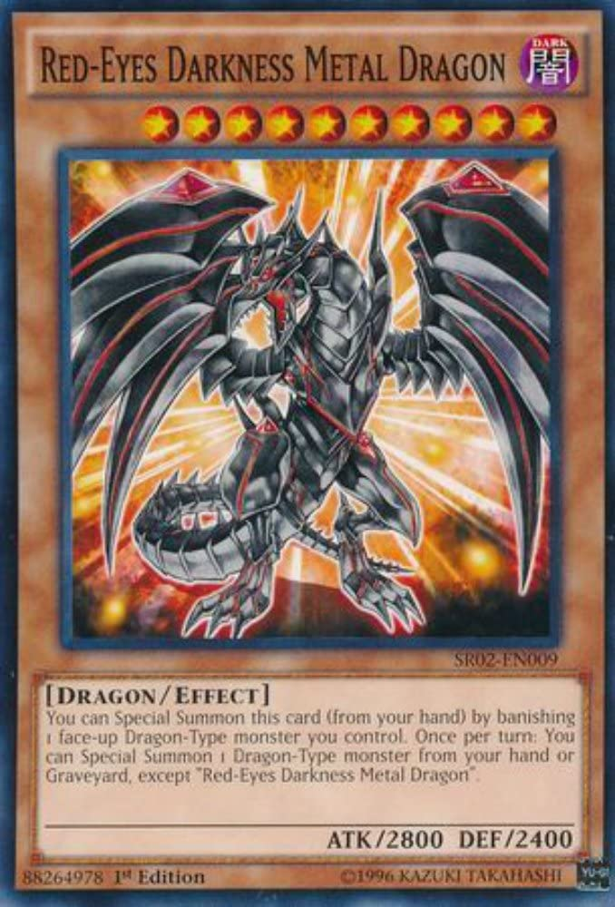 Amazon Com Yu Gi Oh Red Eyes Darkness Metal Dragon Sr02 En009 Structure Deck Rise Of The True Dragons Edition Common Toys Games
