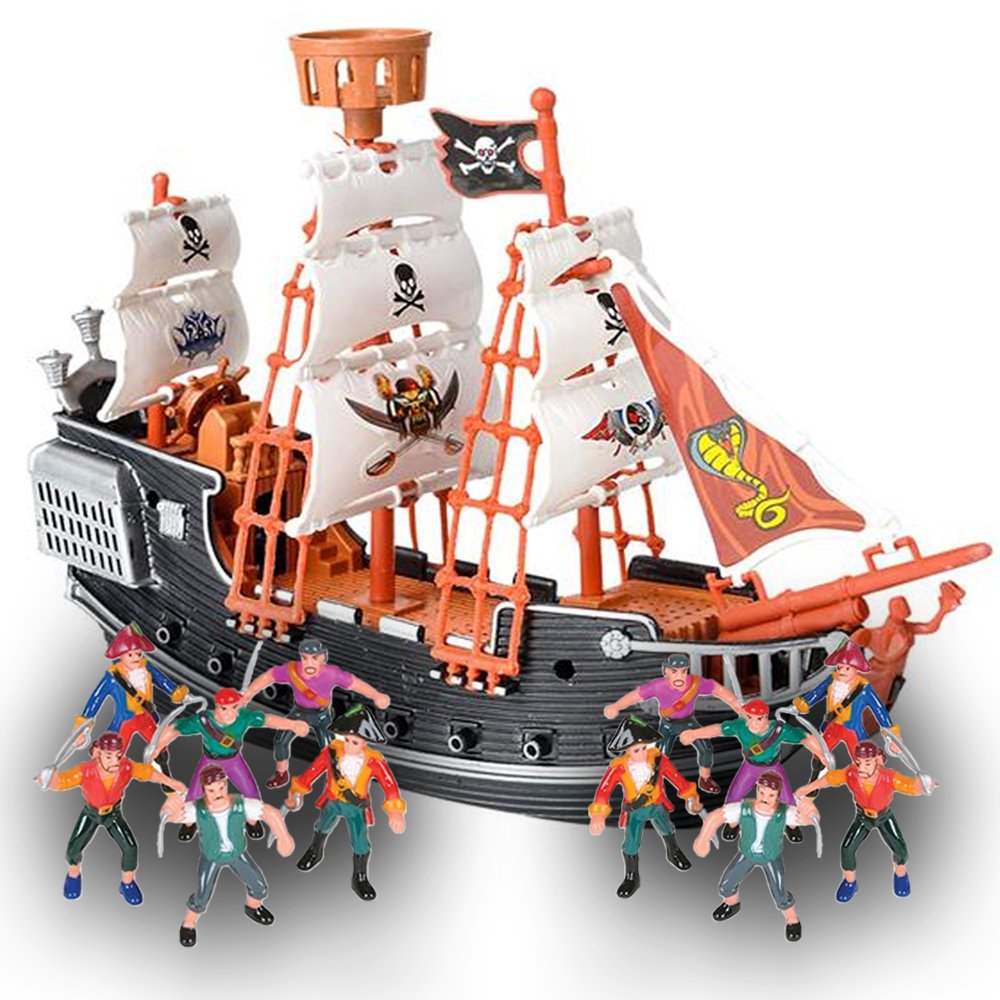 """ArtCreativity 10"""" Pirate Boat 12 Action Figures Set (Pack of 13) 