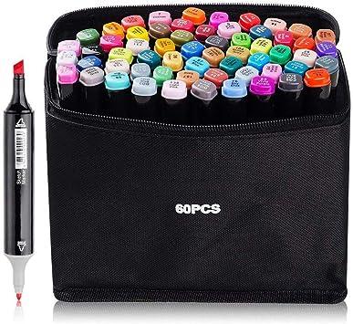 Imagen de60 Color Arte Dibujo Marcadores Arte Marker Pen Set Dibujo Rotuladores, de Doble Punta para Suministros de Pintura y Dibujo para Niños y Adultos