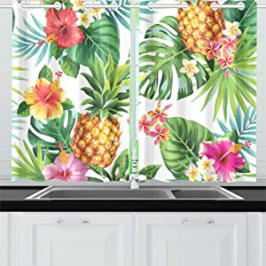 ENEVOTX Exotic Tropical Fruit Sketch Summer Pineapple Kitchen Curtains Window Curtain Tiers for Café, Bath, Laundry, Living Room Bedroom 26 X 39 Inch 2 Pieces