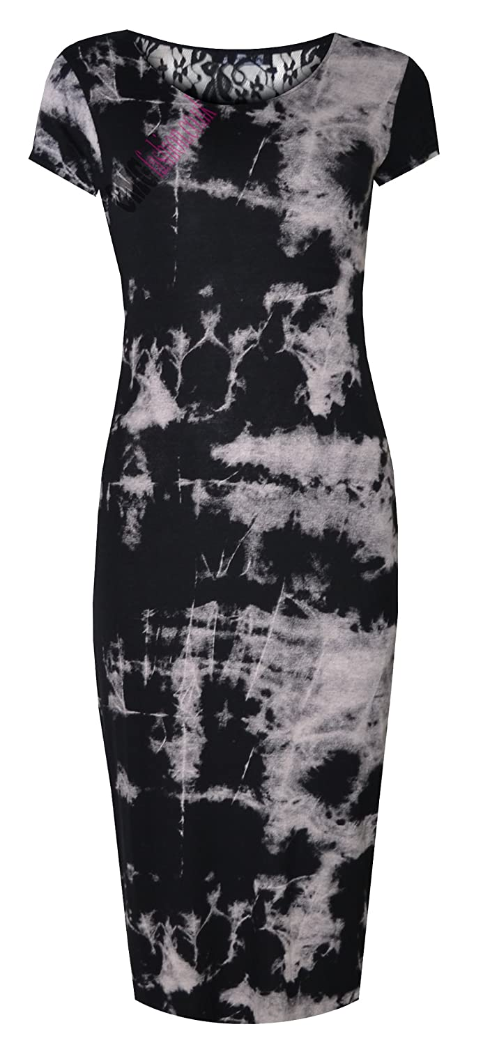 WOMENS TIE DYE CAP SLEEVED DRAPE BACK MIDI DRESS (MTC)