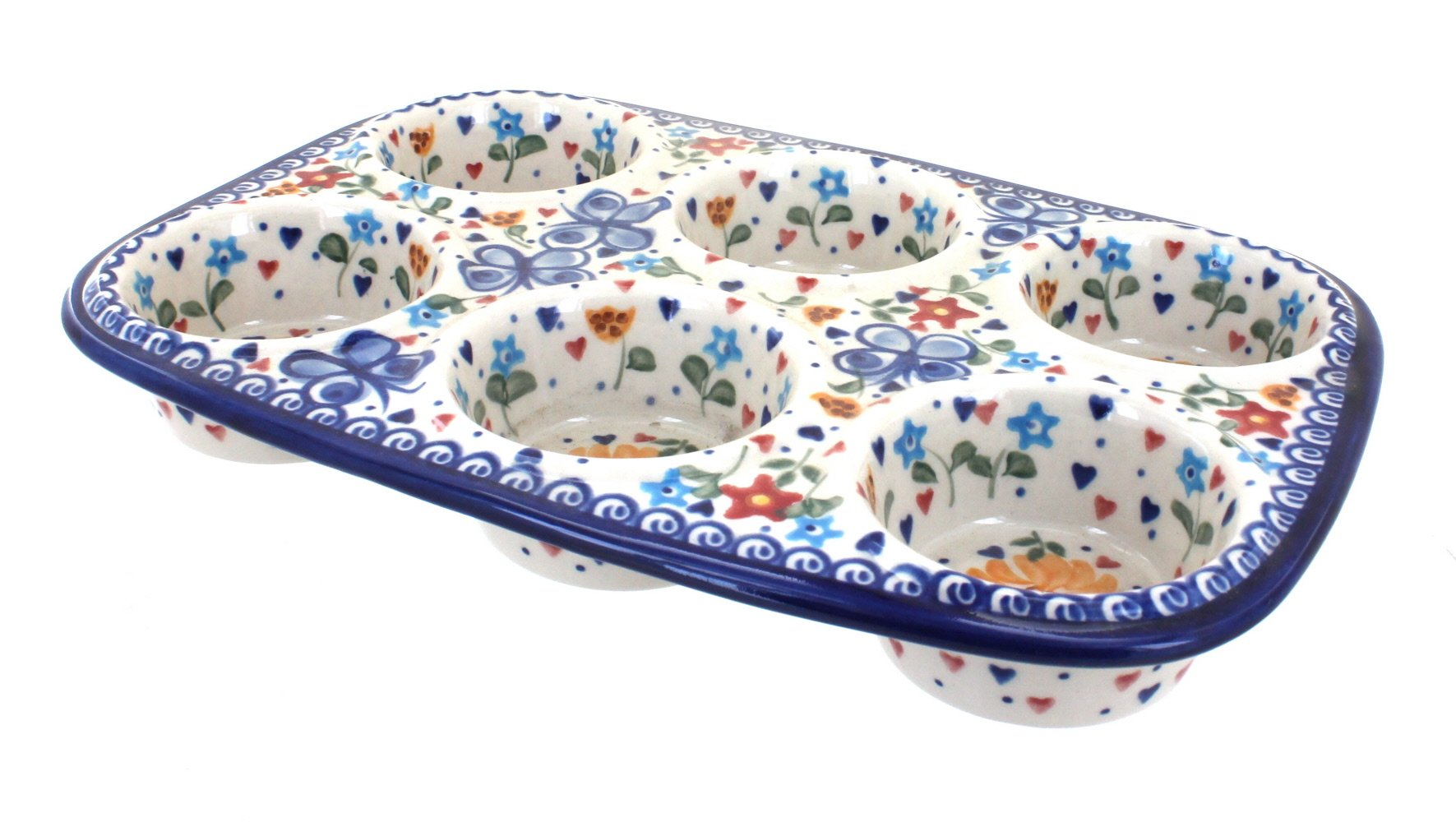 Blue Rose Polish Pottery Butterfly Muffin Pan