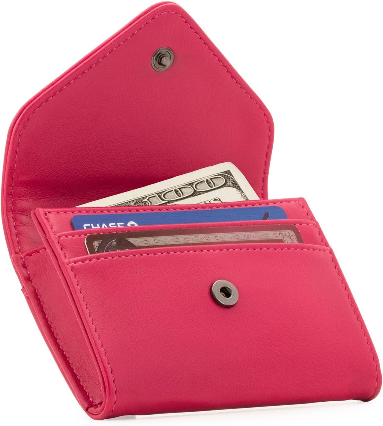 Otto Angelino - Monedero y Organizador de Tarjetas de crédito de Cuero - Bloqueo RFID - Unisex (Rosado)
