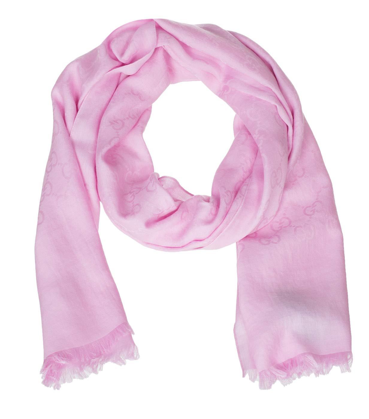 Gucci Women's Pink Wool Silk GG Guccissima Shawl Scarf