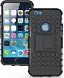 Wow Imagine Defender Tough Hybrid Armour Shockproof Hard PC + TPU with Kick Stand Rugged Back Case Cover for Apple iPhone 6 / 6s - Black