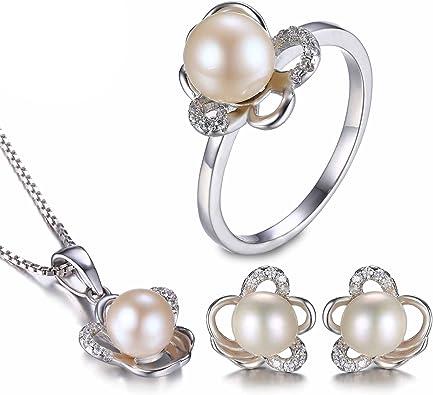 JewelryPalace Magnifique Bague Femme en Argent Sterling 925 avec une Perle dEau Douce Culture Blanche