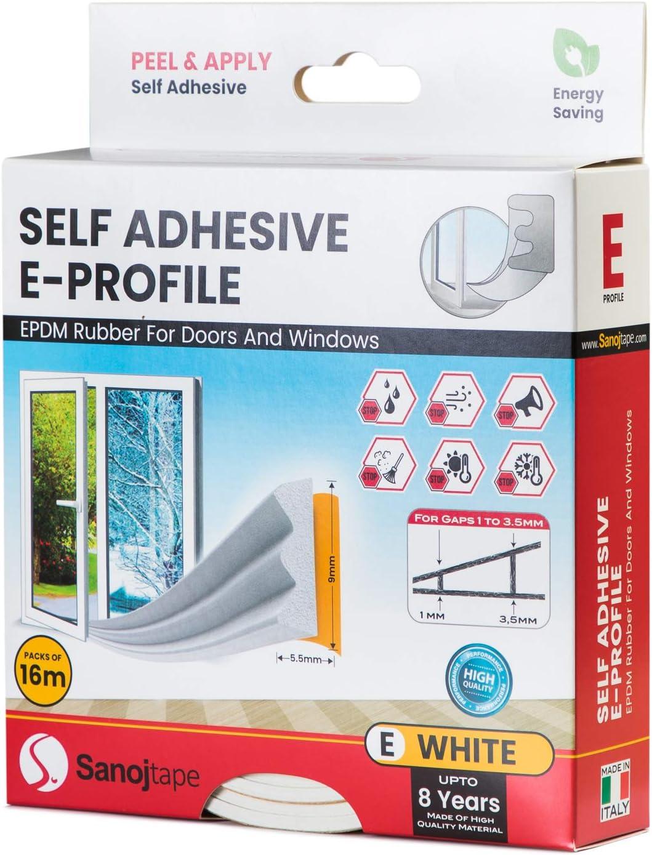 16 Meter Selbstklebende EPDM-Gummidichtung Ideal D/ämmung Isolierung Fenstern T/üren 16 Meter Energieeffizienz P-Profil P-Profil Braun Sanojtape Dichtungsband
