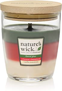 Nature's Wick Forest Pine/Crimson Cinnamon/Vanilla Macaroon 10 oz. Trio Scented Candle