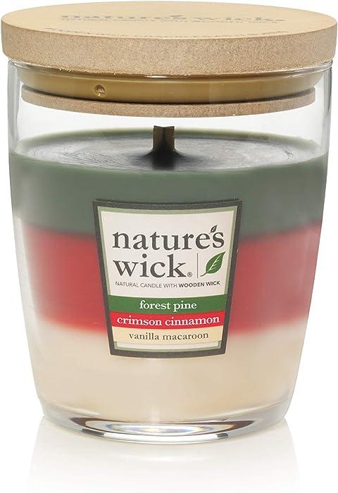 Nature's Wick Forest Pine/Crimson Cinnamon/Vanilla Macaroon 10 oz. Trio Scented Candle