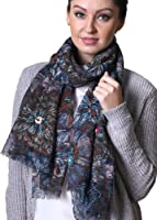Anika Dali Women's Van Gogh Colorful Floral Embroidered Wool Scarf