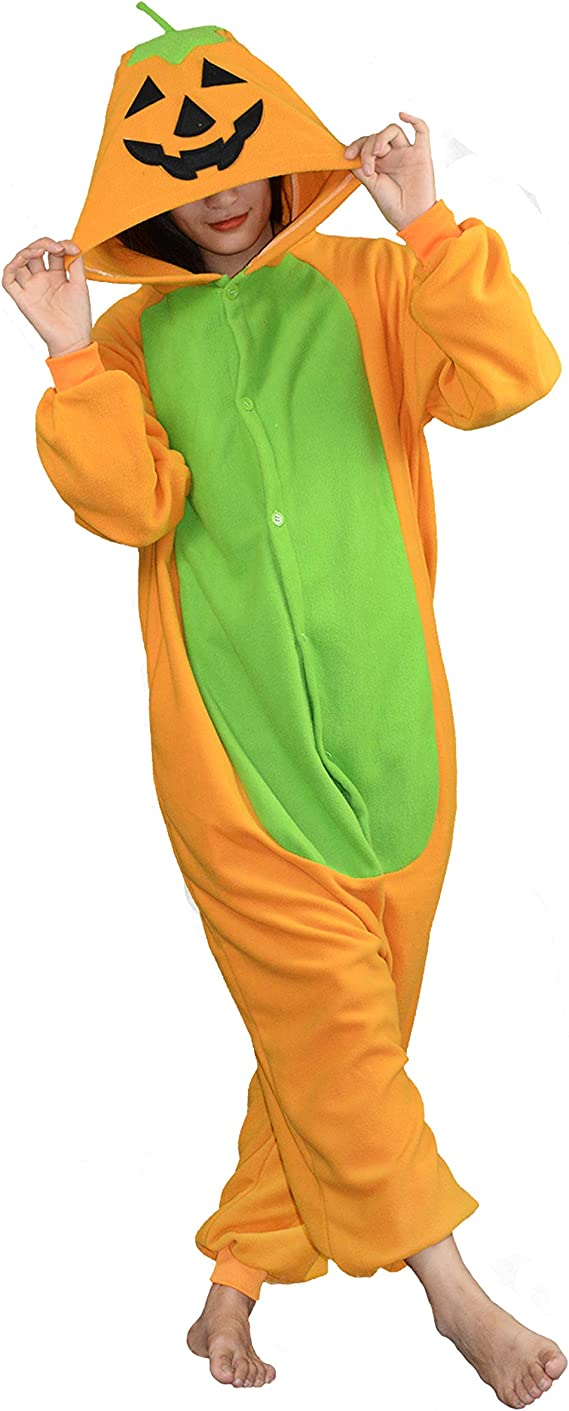 vavalad Adult Pumpkin Lamp Onesie One Piece Pajamas Animal Cosplay Halloween Costume for Men Women