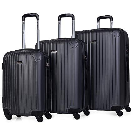 ITACA - Juego Maletas de Viaje 4 Ruedas Trolley ABS. Extensibles Rígidas Resistentes y Ligeras. Mango Asas Candado. Pequeña Cabina Low Cost, Mediana y ...